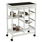 more details on Collection Kitchen Trolley with Slate Effect Glass Top-White