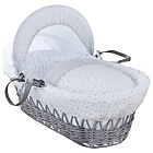 more details on Clair De Lune Stars & Stripes Wicker Moses Basket - Grey.