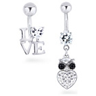 more details on My Body Candy Stainless Steel Owl Love Belly Bar - Set Of 2.