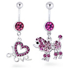 more details on My Body Candy Set Of 2 Stainless Steel Love Poodle Belly Bar