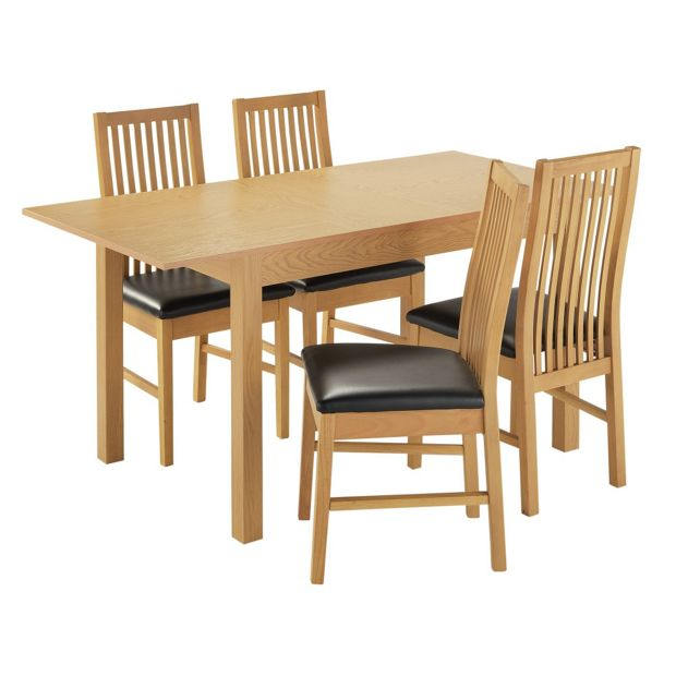 Buy Home Addingham Extendable Table And 4 Paris Chairs Black At Your Online Shop