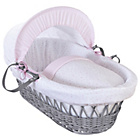 more details on Clair De Lune Stars & Stripes Wicker Moses Basket - Pink.