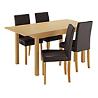 more details on HOME Addingham Extendable Table and 4 Midback Chairs - Choc.