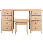 more details on Scandinavia 8 Drawer Dressing Table with Stool - Pine.