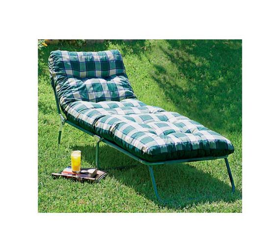 buy home multi position sun lounger with cushion green. Black Bedroom Furniture Sets. Home Design Ideas