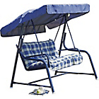 more details on Tubular 2 Seater Garden Swing Seat with Cushion - Blue.