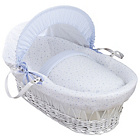 more details on Clair De Lune Stars & Stripes White Wicker Moses Basket.