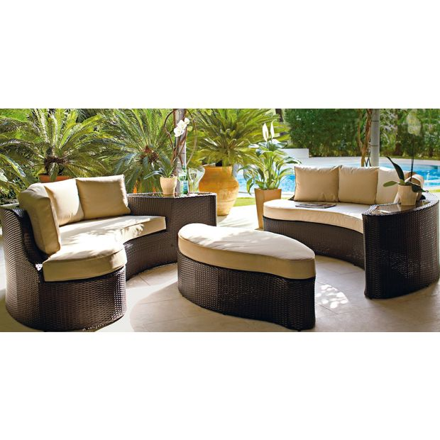 Buy rattan effect 6 seater patio sofa set 2 sofas at for Sofa set purchase