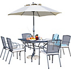 more details on Miami 6 Seater Patio Set with Parasol and Cushions - Black.