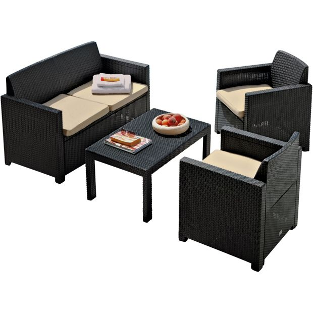 Buy Merano Rattan Effect 4 Seater Patio Furniture Set Graphite At Your Online