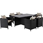 more details on Hand-Woven Rattan Effect Cube 6 Seater Patio Set - Black.