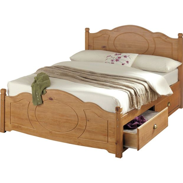 Buy collection sherington double 4 drawer bed frame pine for Double bed designs in wood with storage