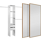 more details on Oak/Mirror Sliding Wardrobe Door and Interior Kit - Medium.