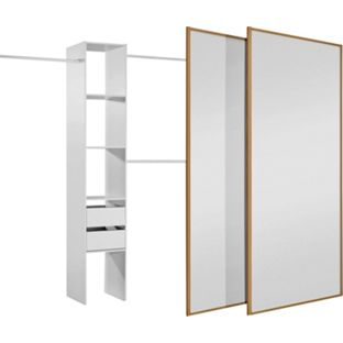 Oak/Mirror Sliding Wardrobe Door and Interior Kit - Medium, width 150cm