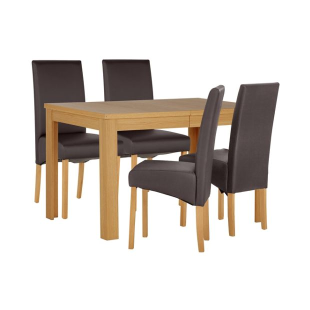 Buy Dining Table And Chairs Online: Buy HOME Elmwood Oak Veneer Ext Table & 4 Chairs