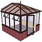 more details on Edwardian Dwarf Wall Medium Conservatory-Rosewood on White.