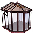 more details on Victorian Full Height Small Conservatory-Rosewood on White.