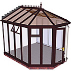 more details on Victorian Full Height XL Conservatory - Rosewood on White.