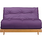 more details on Tosa Pine Futon Sofa Bed with Mattress - Aubergine.