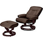 more details on Santos Leather Effect Recliner Chair & Footstool -Chocolate.