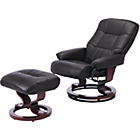 more details on Collection Santos Leather Eff Recline Chair/Footstool -Black
