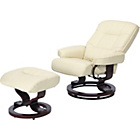 more details on Santos Leather Effect Recliner Chair and Footstool - Ivory.
