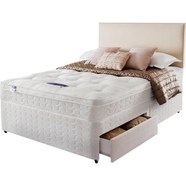 Buy silentnight auckland ortho small double divan bed 2 for Small double divan beds with 2 drawers