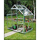 more details on Greenhouse & Base with Horticultural Glass - 6x4ft - Green.