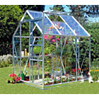 more details on Aluminium Greenhouse & Base with Horticultural Glass - 6x6ft