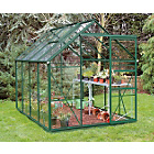 more details on Greenhouse & Base with Horticultural Glass - 6x8ft - Green.