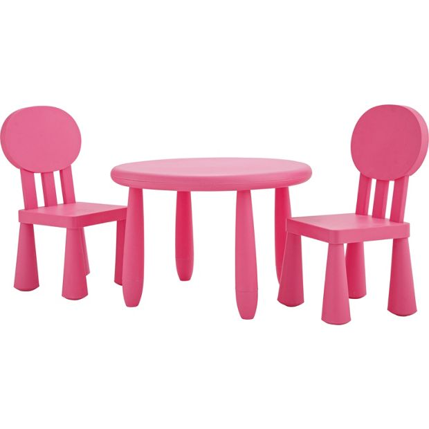 buy funky plastic chair and table pink at. Black Bedroom Furniture Sets. Home Design Ideas
