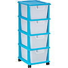 more details on 4 Drawer Plastic Storage Tower - Blue.