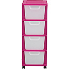 more details on 4 Drawer Plastic Storage Tower - Pink.