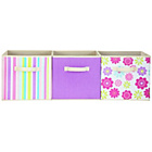 more details on 3 Pack of Canvas Storage Boxes - Purple Flowers.