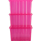 more details on Set of 3 x 28 Litre Crocodile Lid Storage Boxes - Pink.