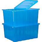 more details on 2 x 48 Litre Blue Plastic Storage Boxes.