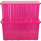 more details on 2 x 48 Litre Pink Plastic Storage Boxes.