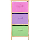 more details on 3 Drawer Canvas Storage Unit - Pink.
