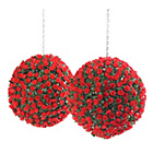 more details on Artificial 28cm Red Rose Balls - Pack of 2.