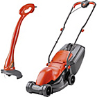 more details on Flymo Corded 900W Lawnmower and 230W Mini Grass Trimmer.