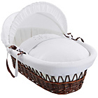 more details on Clair de Lune Stardust Dark Wicker Moses Basket - White.