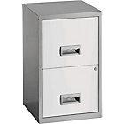 more details on Pierre Henry 2 Drawer Filing Cabinet - Silver/White.