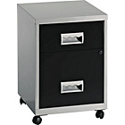 Pierre Henry 2 Drawer Combi Filing Cabinet - Silver/Black