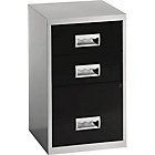 Pierre Henry 3 Drawer Combi Filing Cabinet - Silver/Black