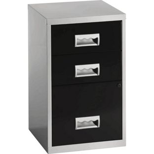 Pierre Henry 3 Drawer Combi Filing Cabinet - Silver/Black, width 40cm