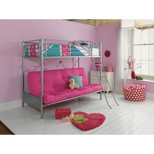 Metal Fuchsia Futon Bunk Bed with Bibby Mattress