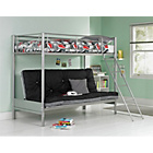 more details on Metal Bunk Bed Frame with Futon - Silver and Black.