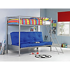 more details on Metal Bunk Bed Frame with Futon - Silver and Blue.
