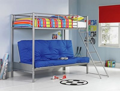 Buy Home Metal Bunk Bed Frame With Futon Silver And Blue