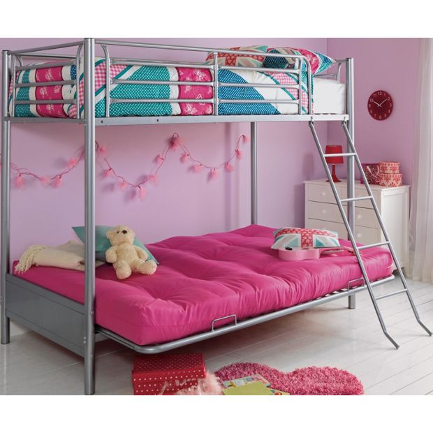 Buy Home Metal Bunk Bed Frame With Futon Fuchsia At Your Online Shop For